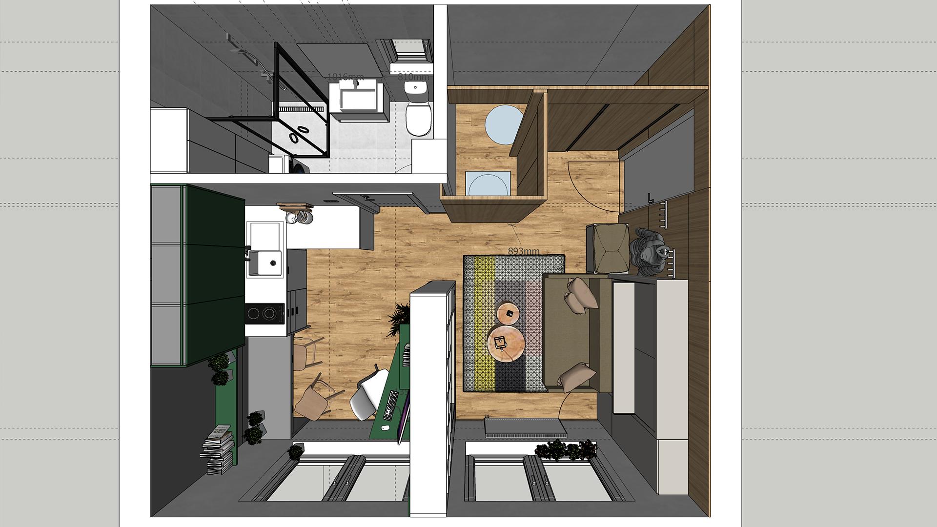 Architektonická štúdia garsónky